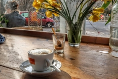 Coffee with daffodils